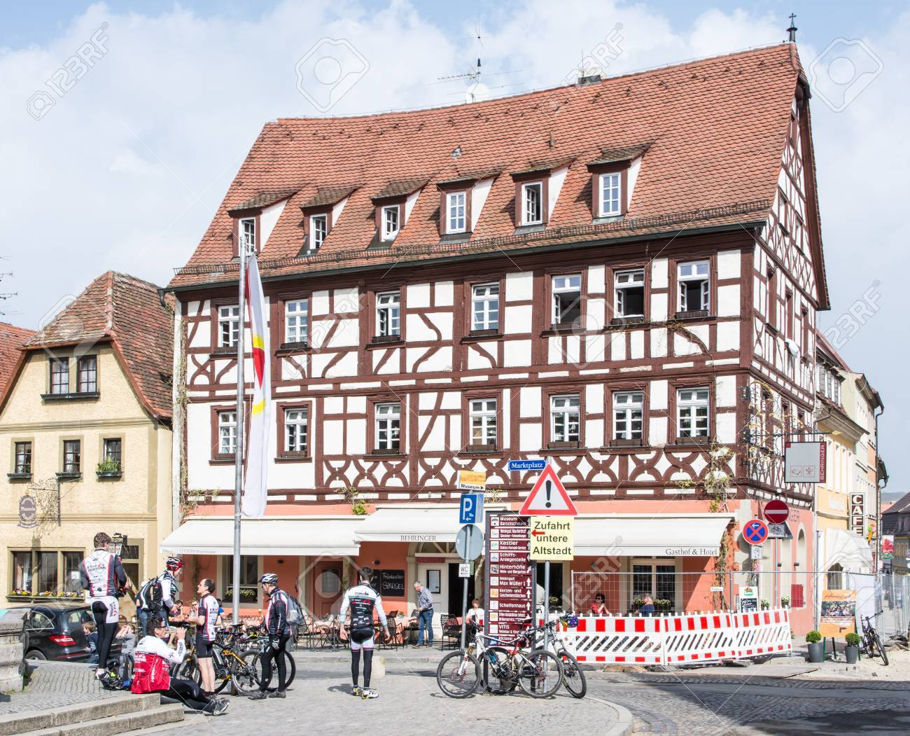 Volkach Germany April 6 Tourists At The Market Place Of