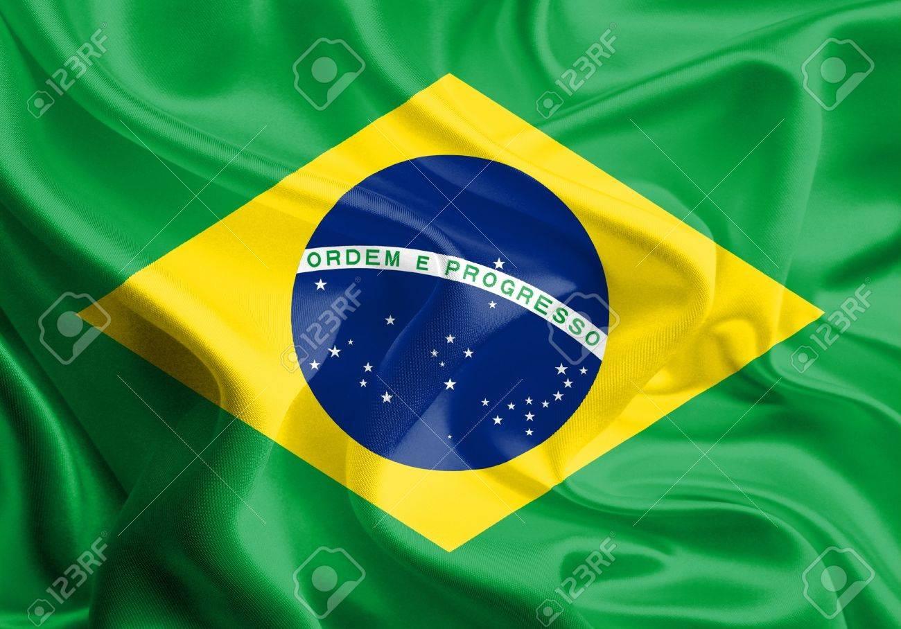 Waving Fabric Flag of Brazil Stock Photo - 16947007