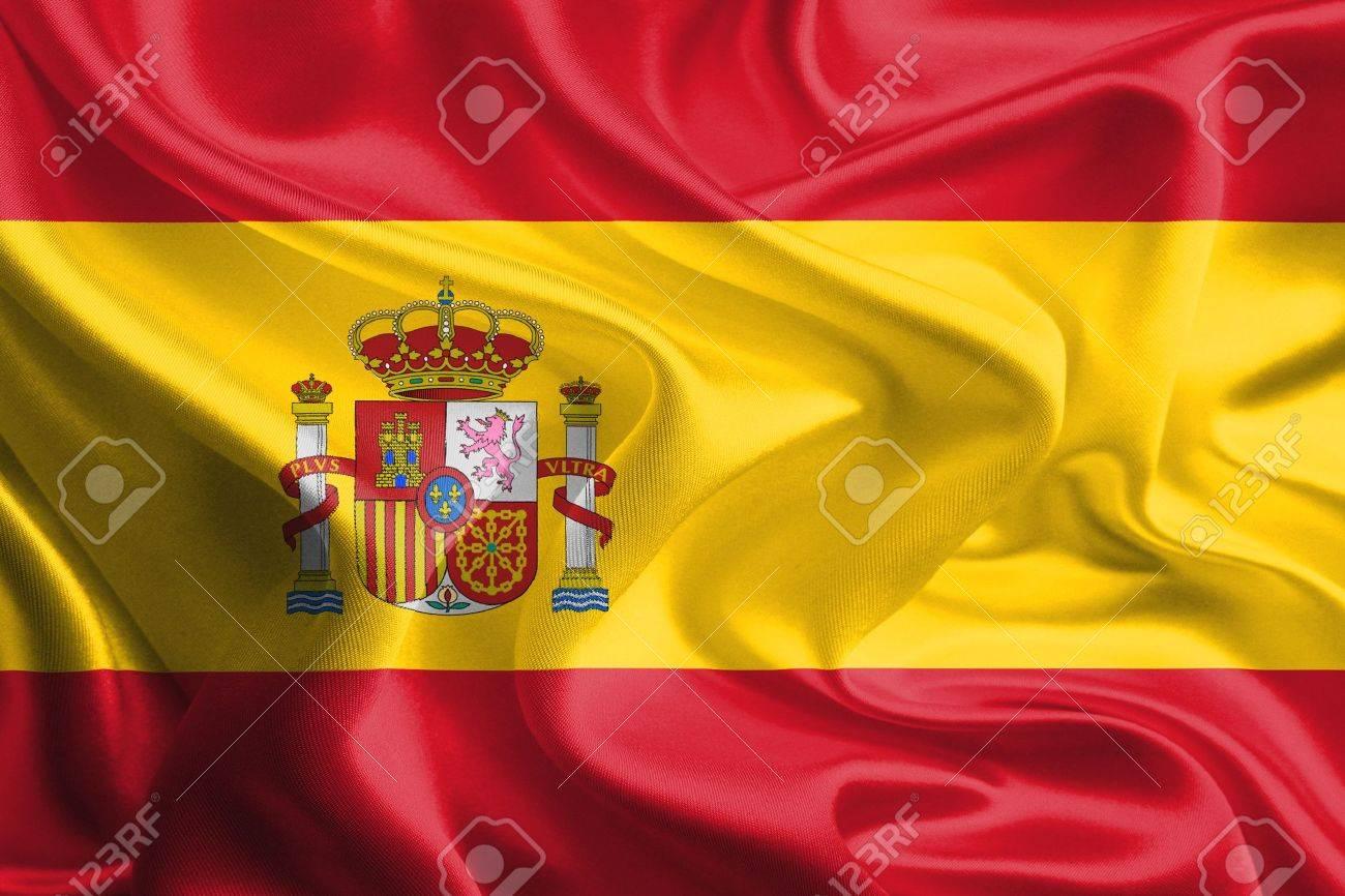 Waving Fabric Flag of spain Stock Photo - 18295395