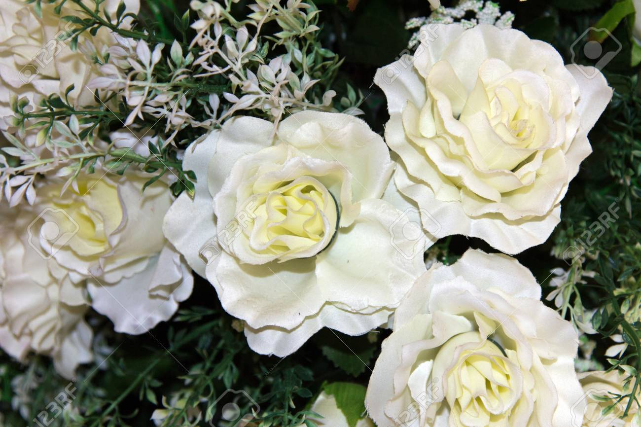 White Fabric Flowers Stock Photo Picture And Royalty Free Image