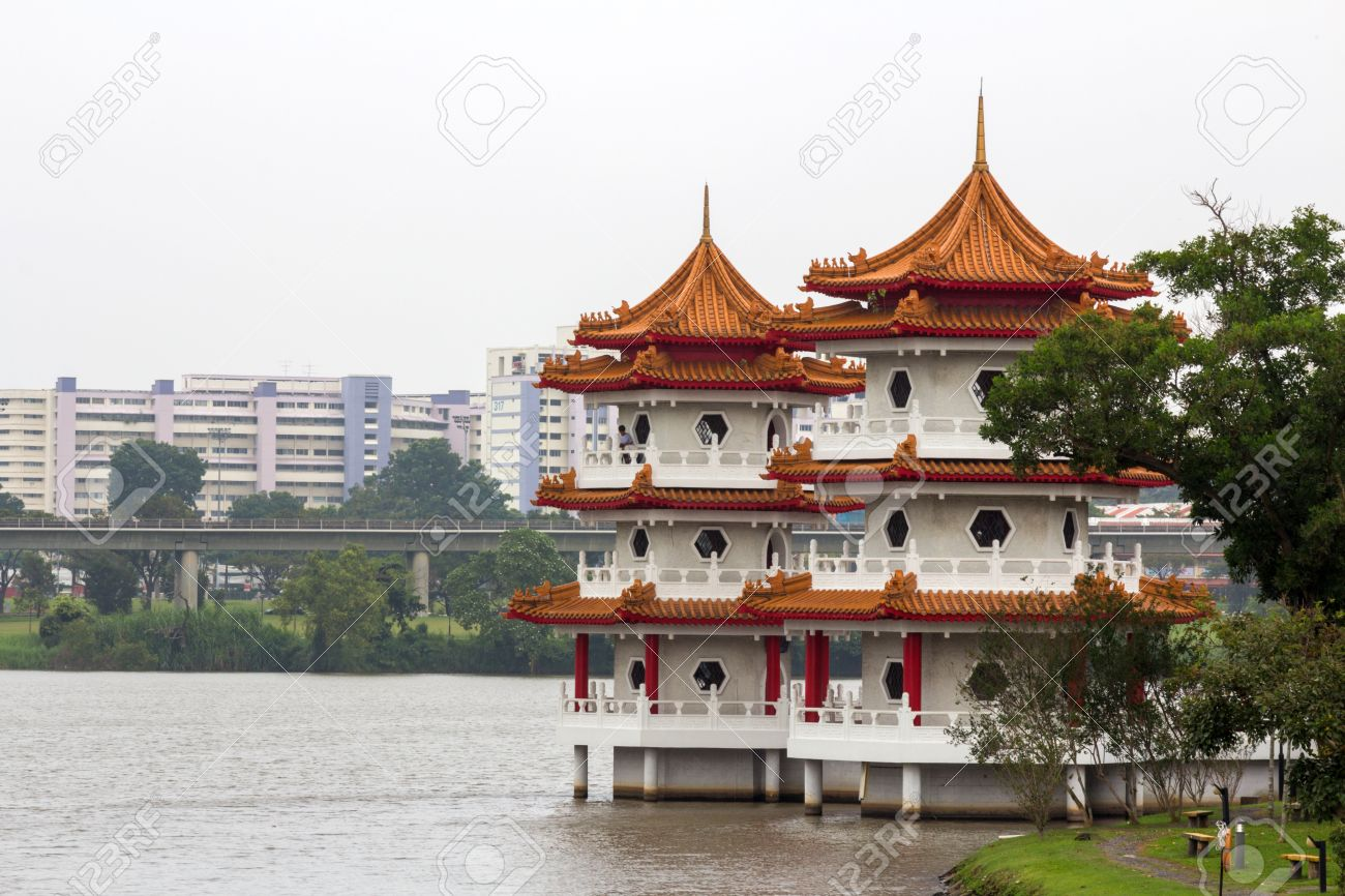 The Twin Pagoda At The Chinese Garden Of Singapore Stock Photo   25734862