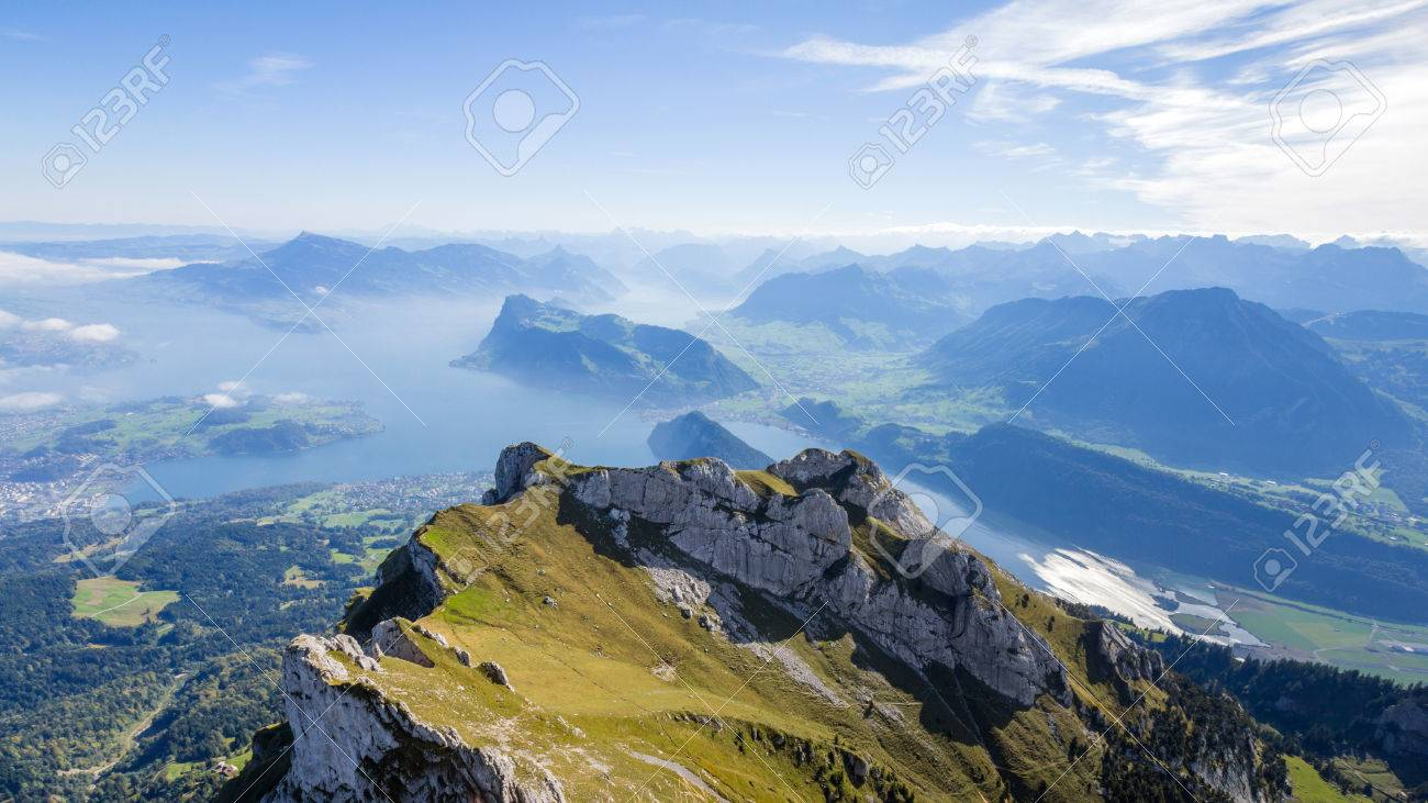 Stock Photo - View of Swiss Alps from Mt. Pilatus in Lucerne, Switzerland