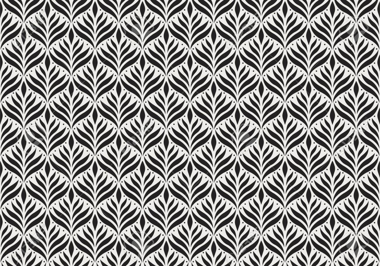 Seamless Arabesque Floral Pattern. Art Deco Style Background. Vector Abstract Flower Texture. - 128950723
