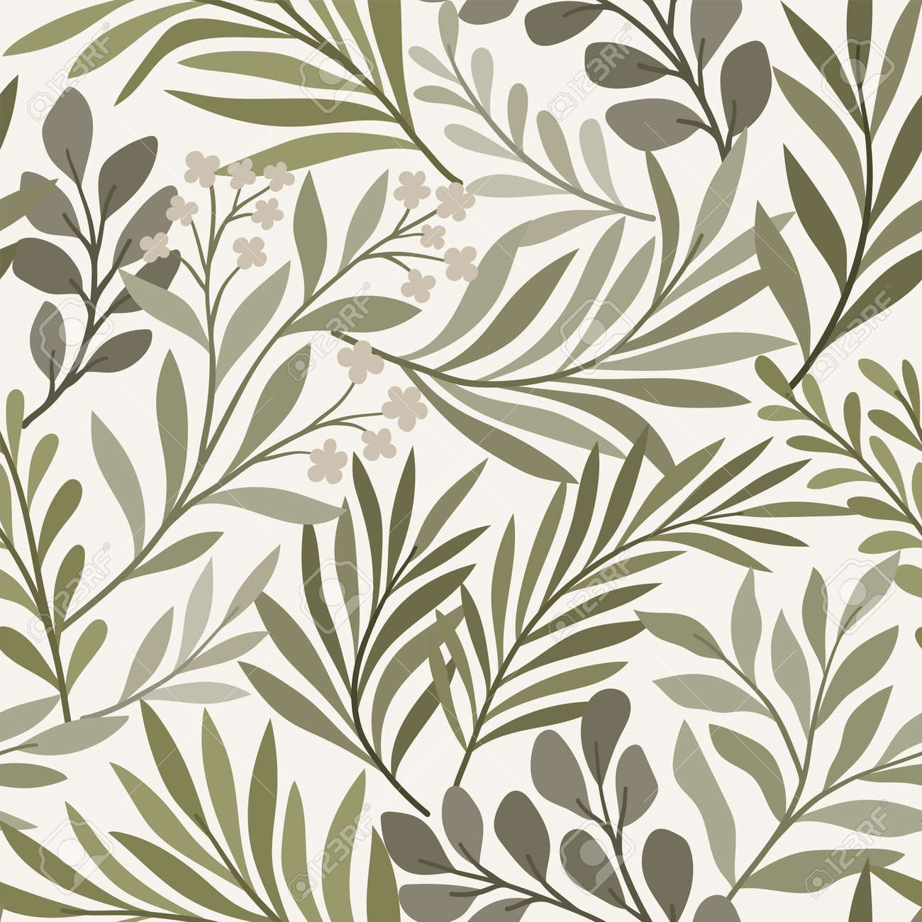 Vector hand drawn leaves seamless pattern. Abstract trendy floral background. Repeatable texture. - 168264767