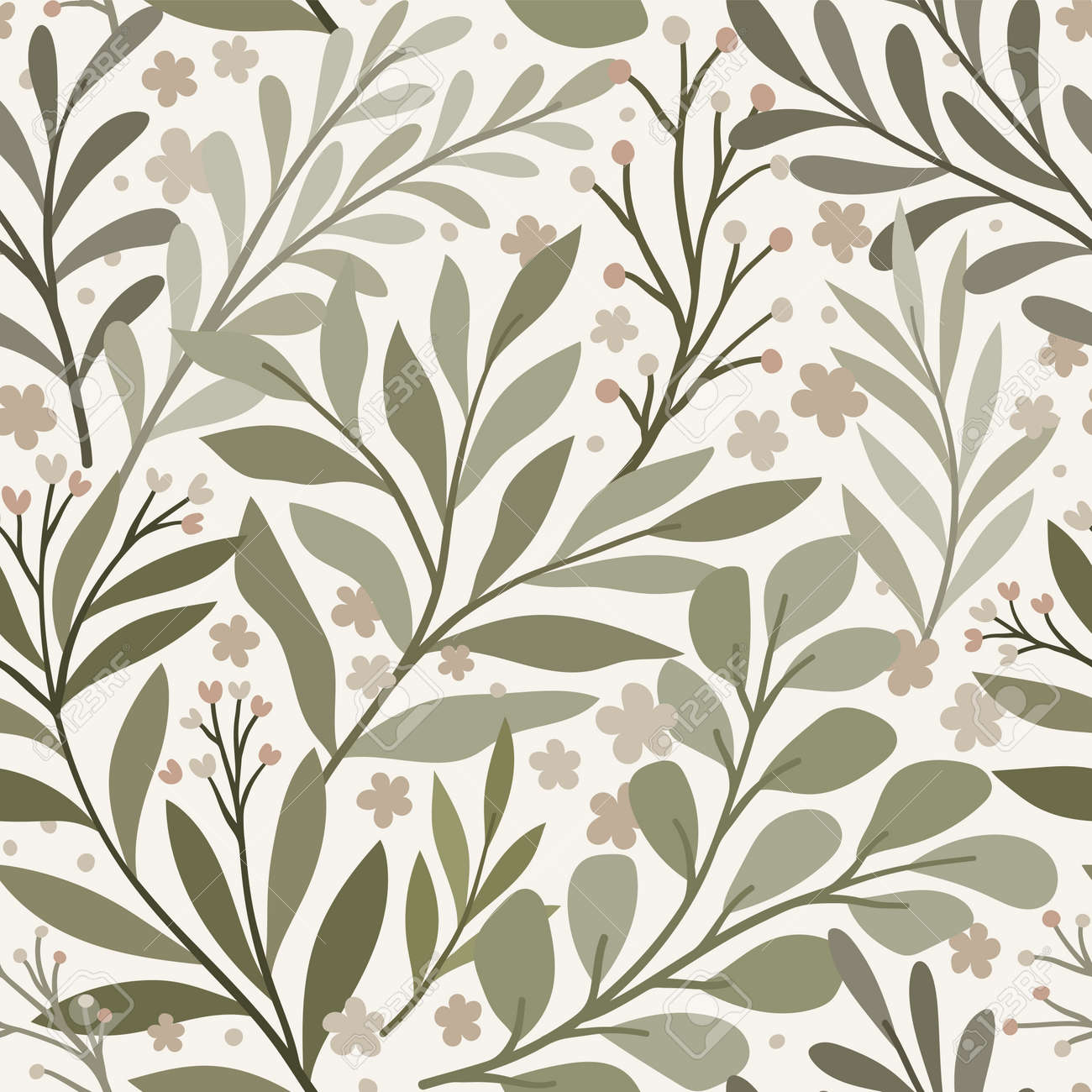 Vector hand drawn leaves seamless pattern. Abstract trendy floral background. Repeatable texture. - 168264843