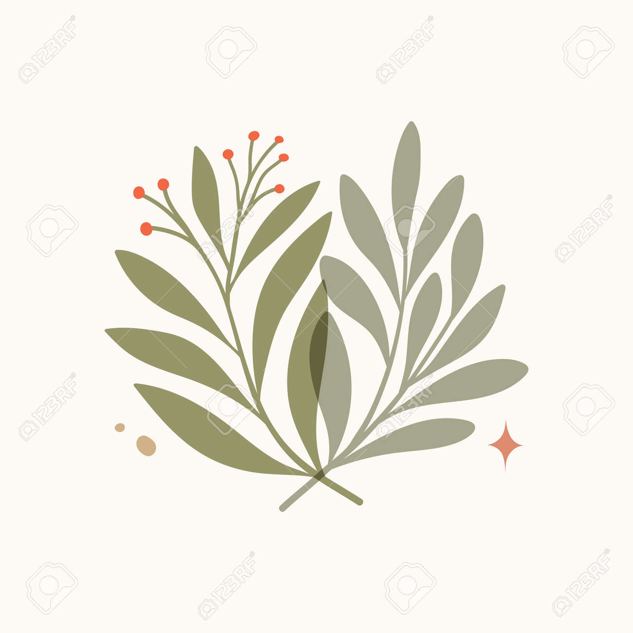 Vector modern floral arrangement background. Cute delicate botanical illustration with leaves and plants. - 168265029
