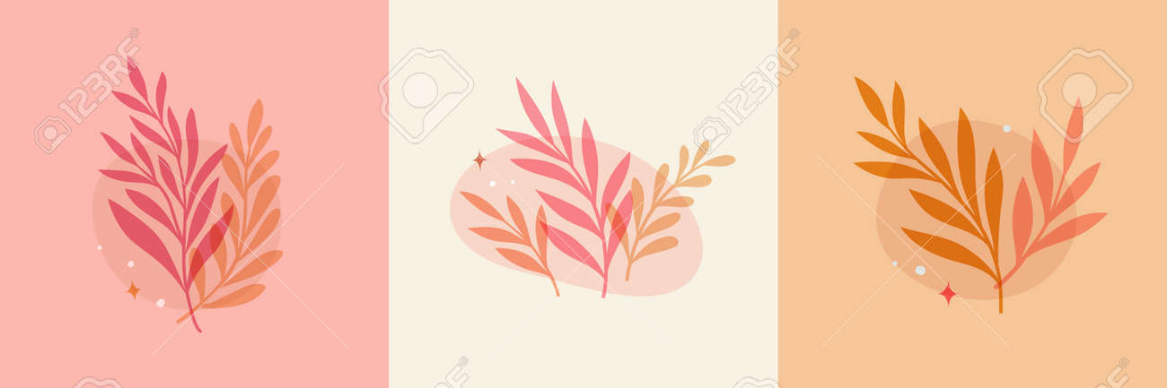 Vector modern floral arrangement background. Cute delicate botanical illustration with leaves and plants. - 168265033