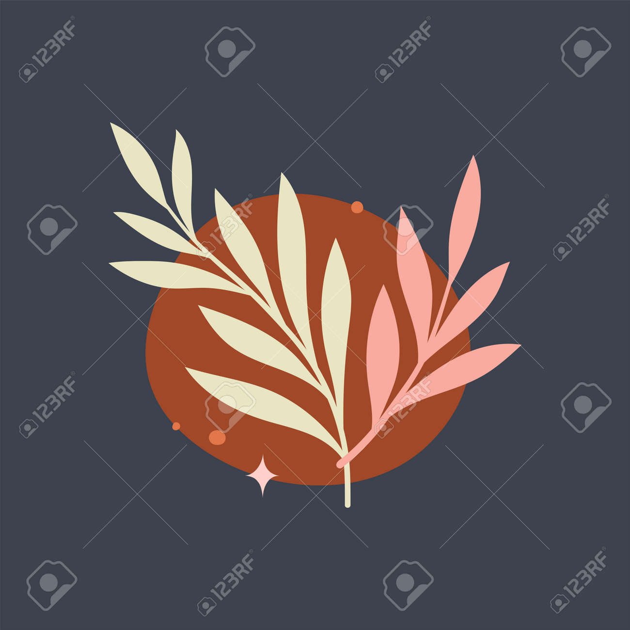 Vector modern floral arrangement background. Cute delicate botanical illustration with leaves and plants. - 168265036