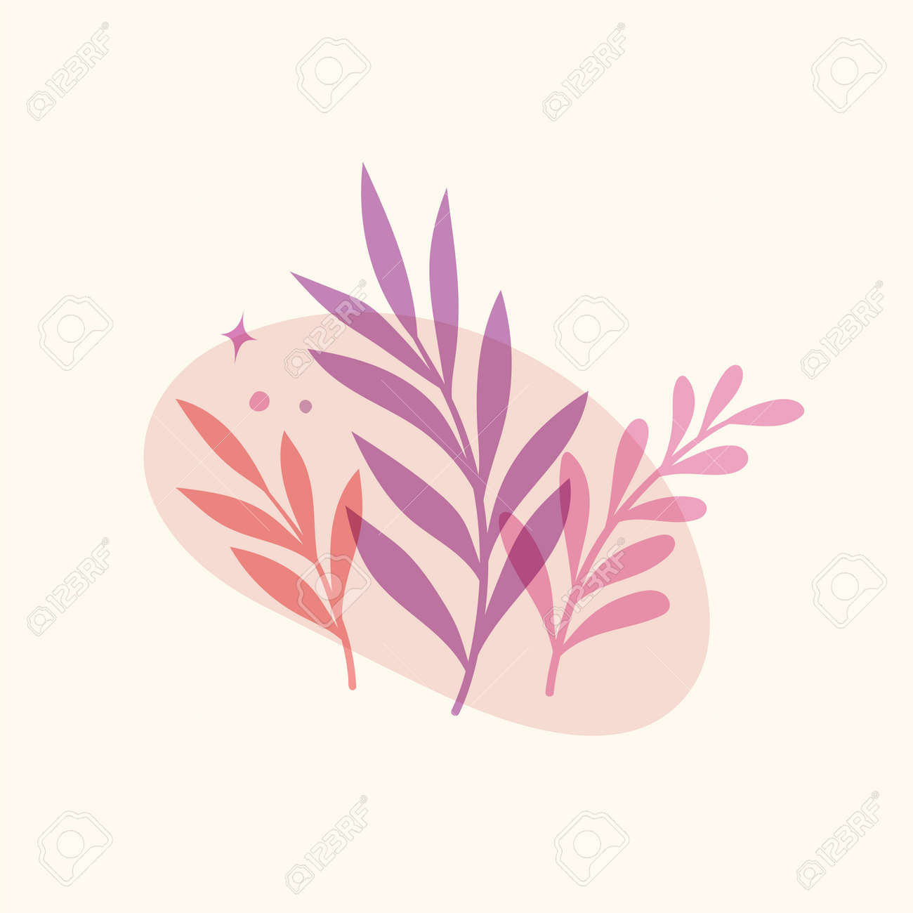 Vector modern floral arrangement background. Cute delicate botanical illustration with leaves and plants. - 168265086