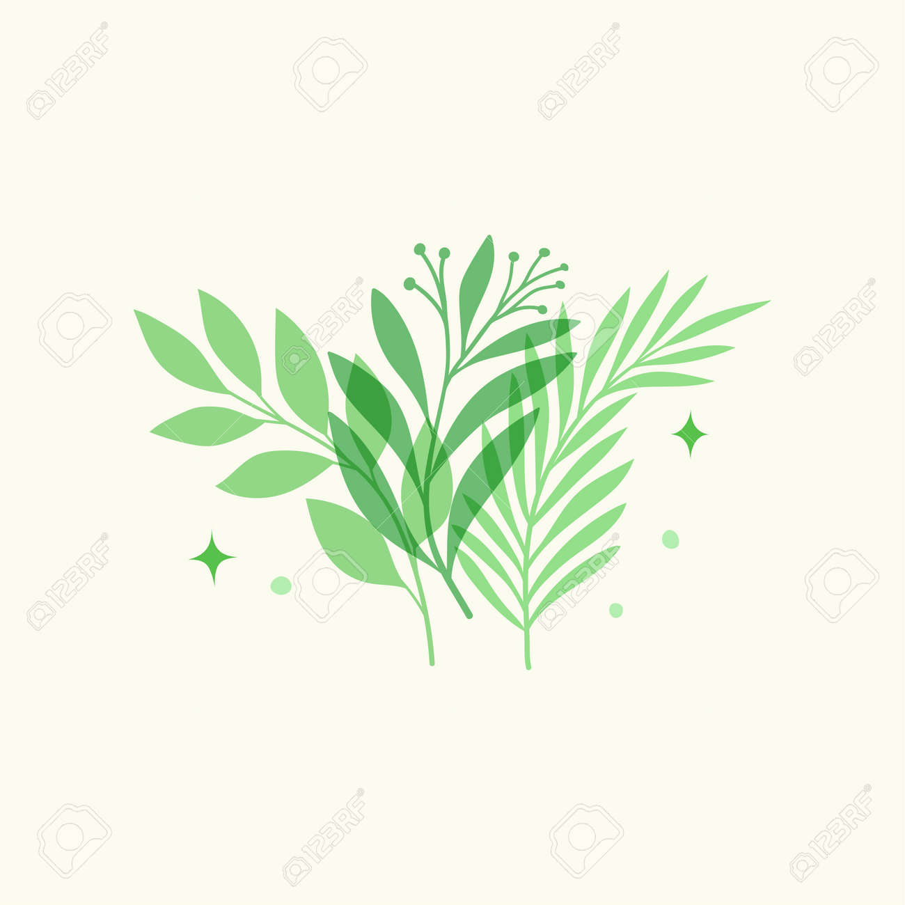 Vector modern floral arrangement background. Cute delicate botanical illustration with leaves and plants. - 168265091