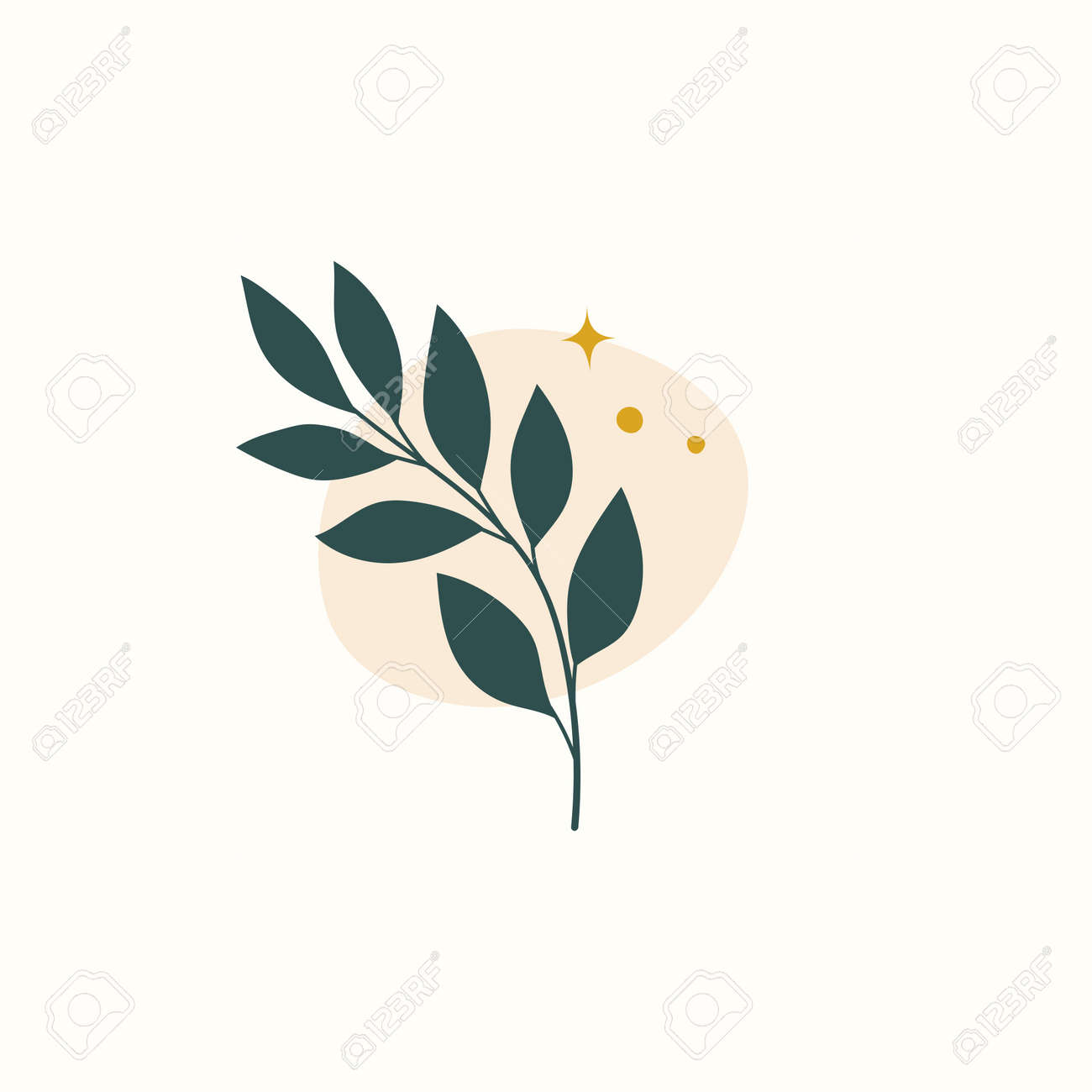 Vector modern floral arrangement background. Cute delicate botanical illustration with leaves and plants. - 168265096