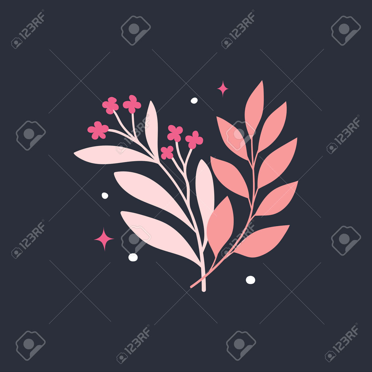 Vector modern floral arrangement background. Cute delicate botanical illustration with leaves and plants. - 168265264