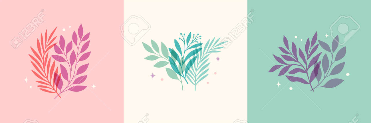 Vector modern floral arrangement background. Cute delicate botanical illustration with leaves and plants. - 168265269
