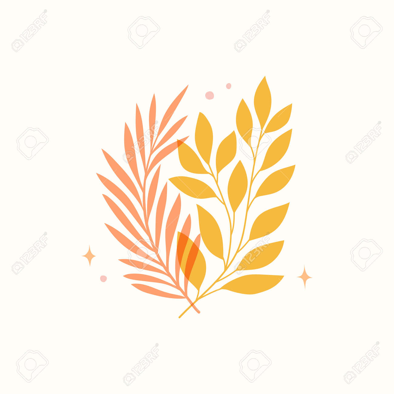 Vector modern floral arrangement background. Cute delicate botanical illustration with leaves and plants. - 168265270