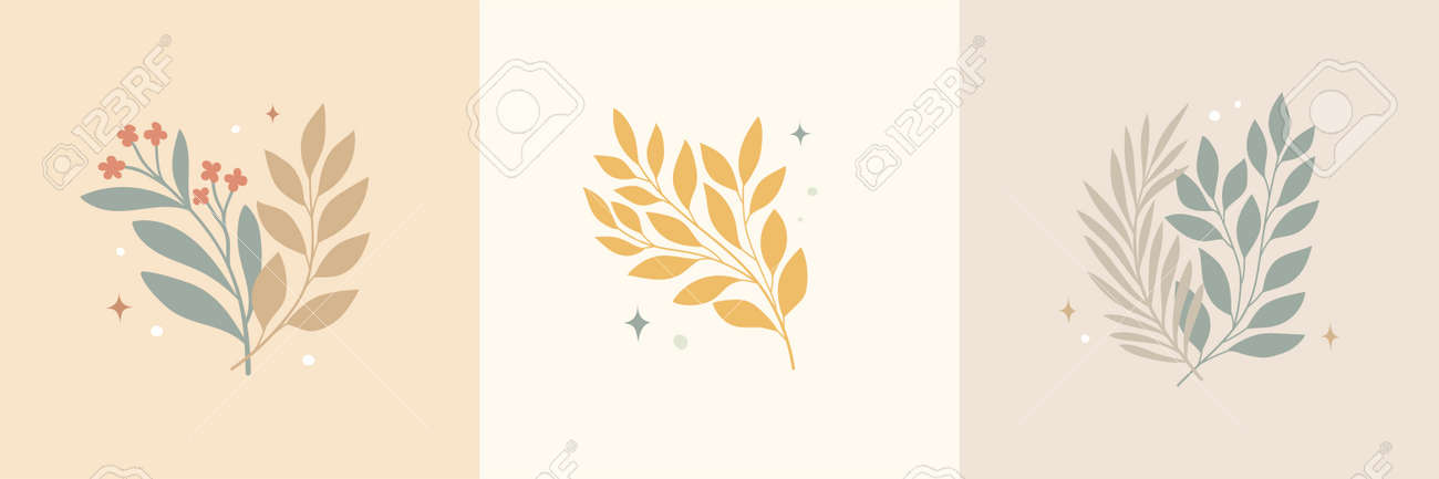 Vector modern floral arrangement background. Cute delicate botanical illustration with leaves and plants. - 168265268