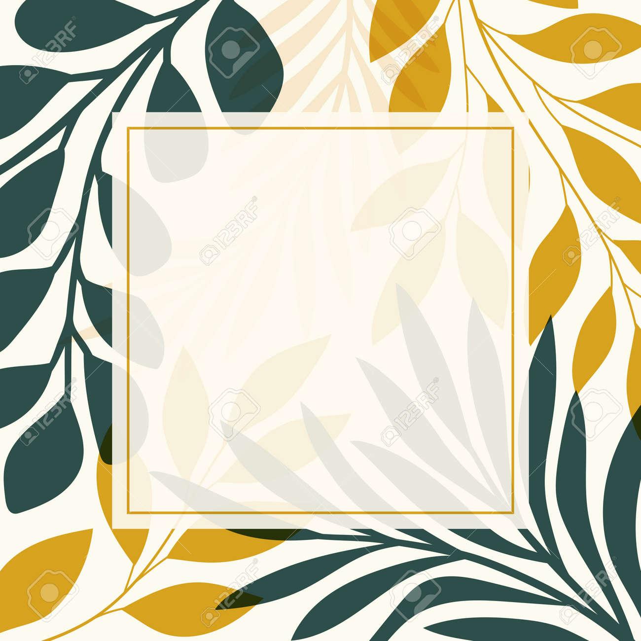 Modern floral vector banner. Botanical illustration template background. Abstract plant elements for print design, social media, post banner and presentation. - 168265308