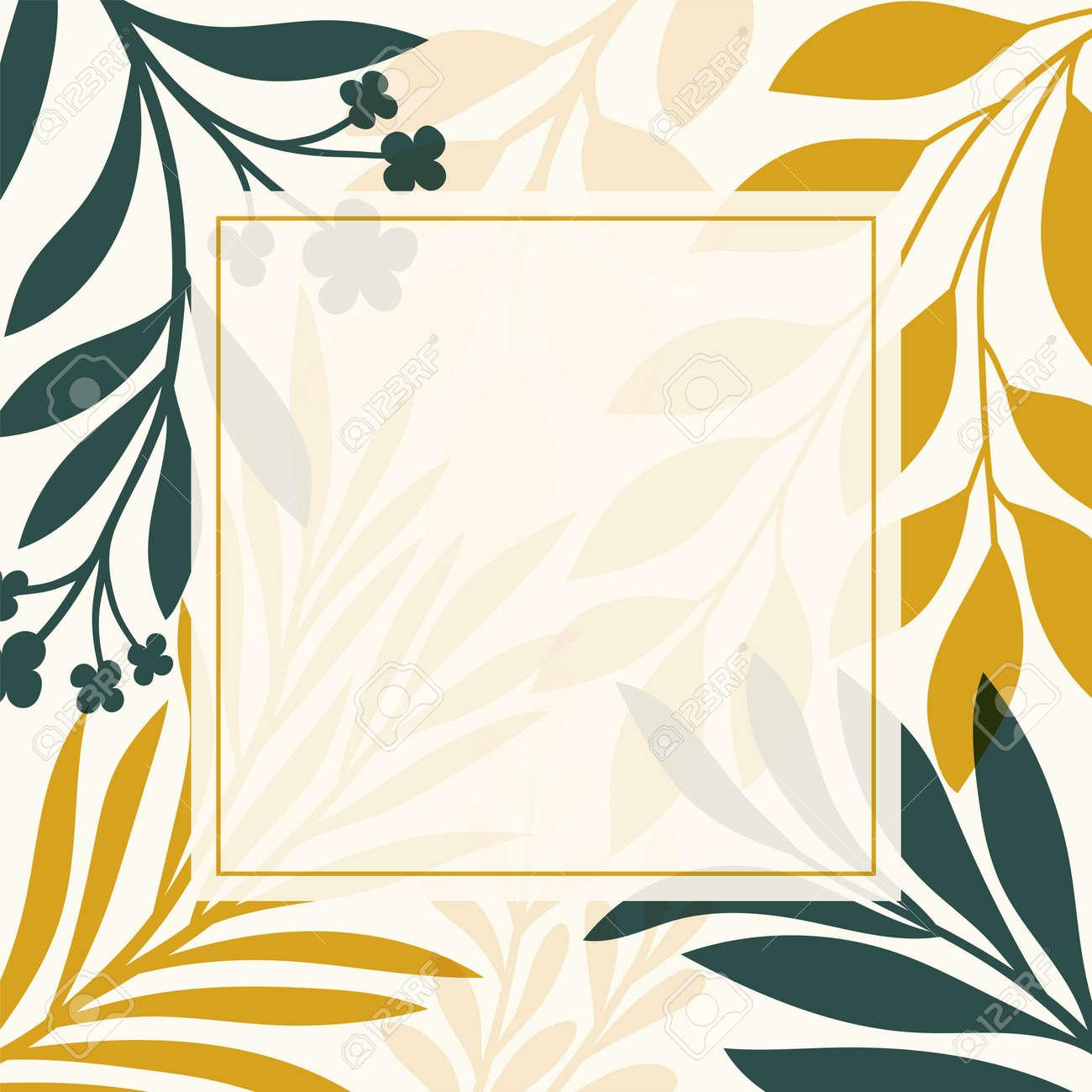 Modern floral vector banner. Botanical illustration template background. Abstract plant elements for print design, social media, post banner and presentation. - 168265312