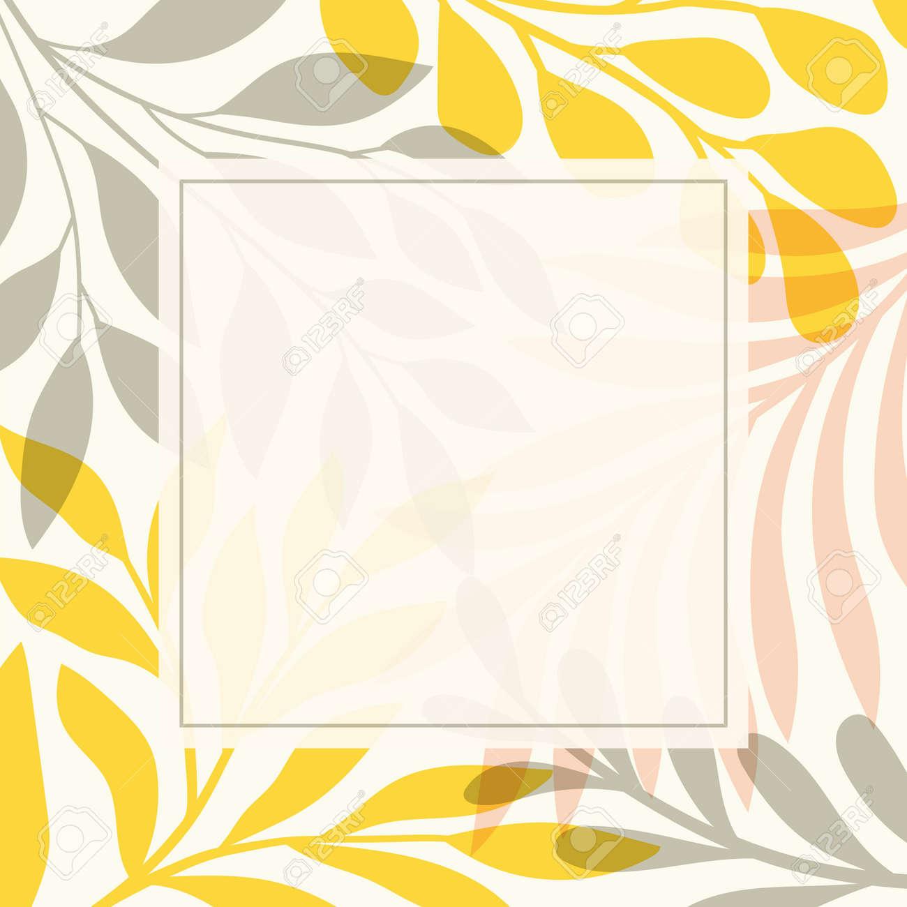 Modern floral vector banner. Botanical illustration template background. Abstract plant elements for print design, social media, post banner and presentation. - 168265315