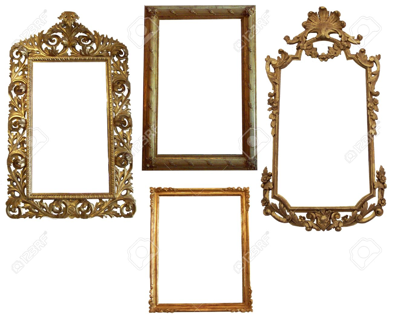 stock photo vintage detailed gold empty oval and square picure frames