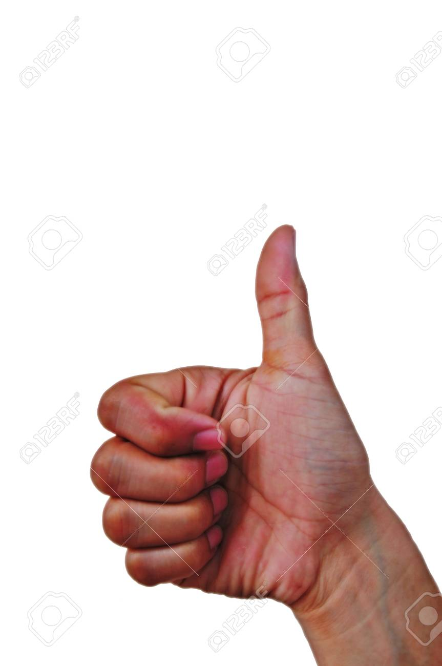 Closeup of male hand showing thumbs up sign against white background Stock Photo - 13584731