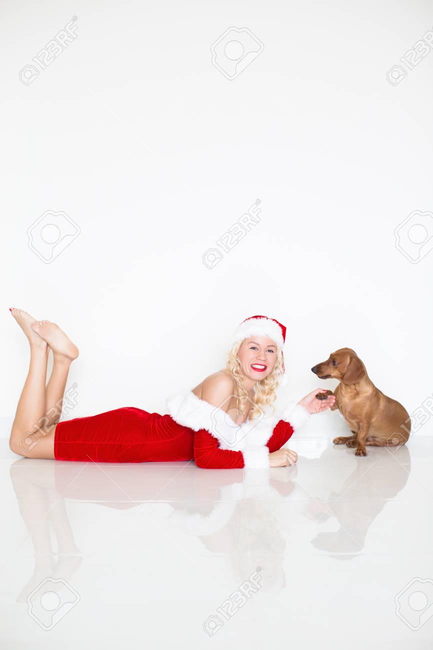 Babbo Natale Zampa.Cane Divertente Che Da Zampa Alla Donna In Abito Da Babbo Natale