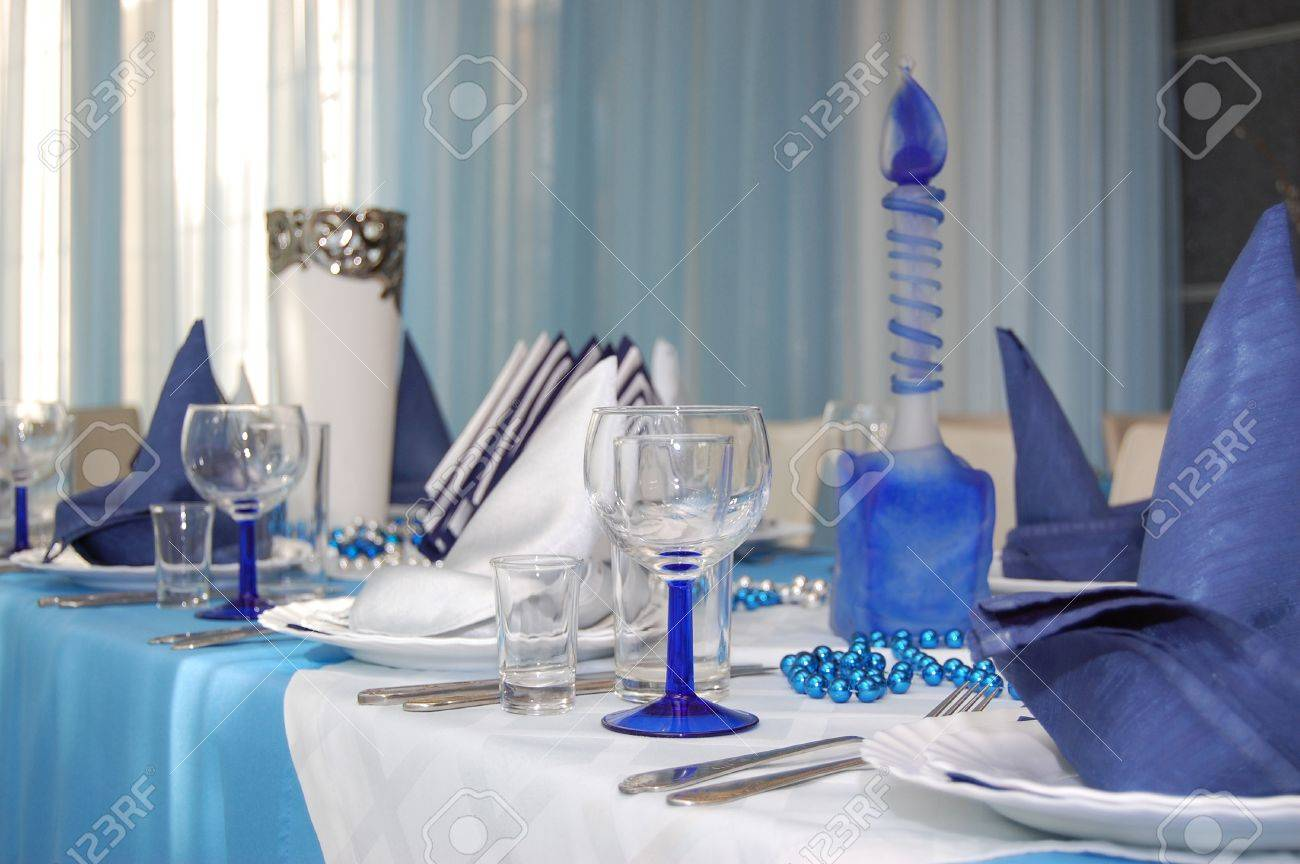 Everything Is Executed In Is White Blue Color Wineglass And Napkin Stock Photo Picture And Royalty Free Image Image 14758579
