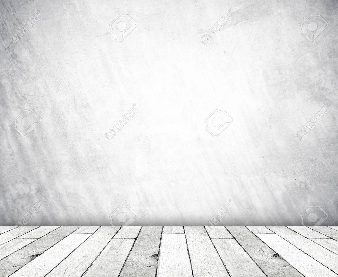 stock photo white cement wall and old wood floor empty perspective room in light tone floor46 perspective