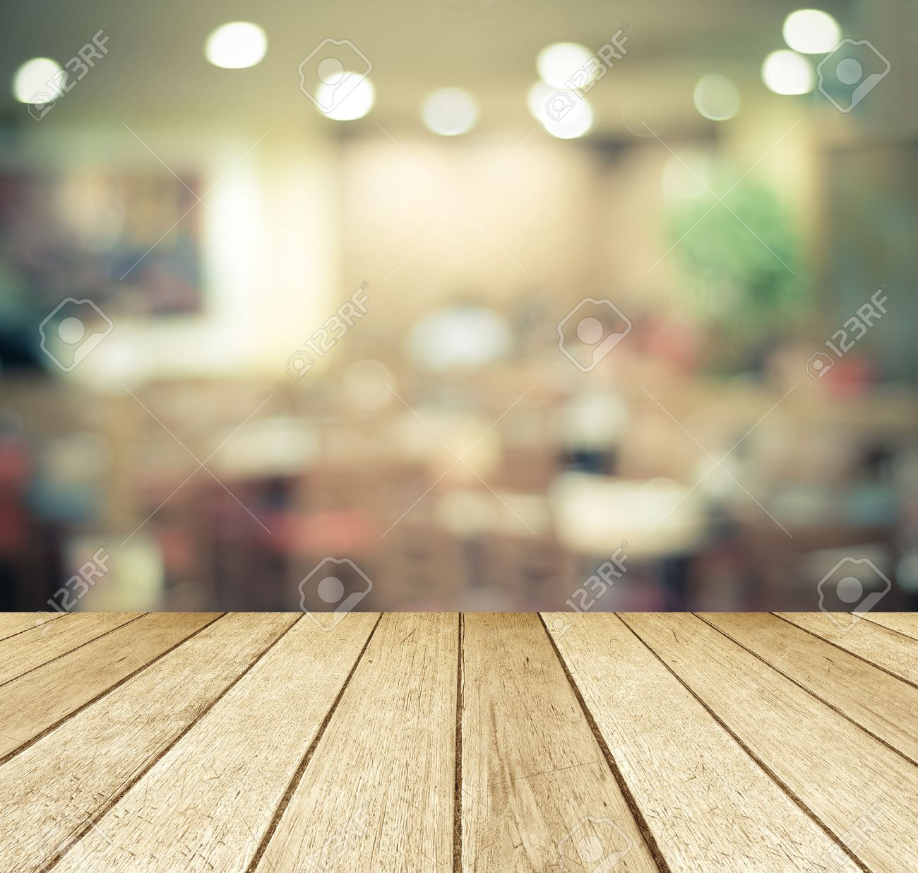 Plain wood table with hipster brick wall background stock photo - Wood Table Perspective Perspective Wood Over Blurred Restaurant With Bokeh Background Foods And Drinks