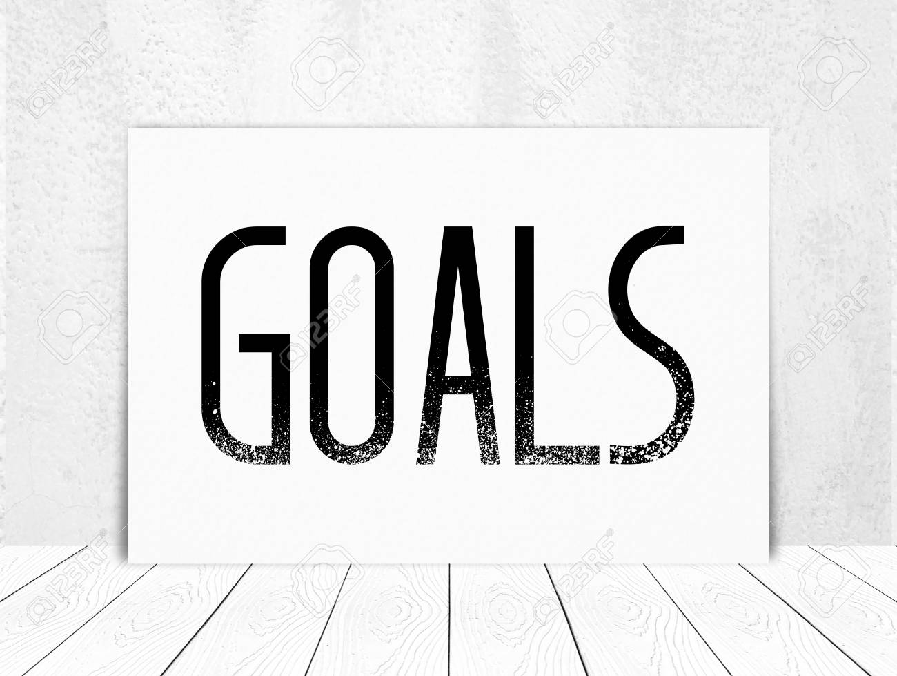 goals on blank white poster board background sucess in business