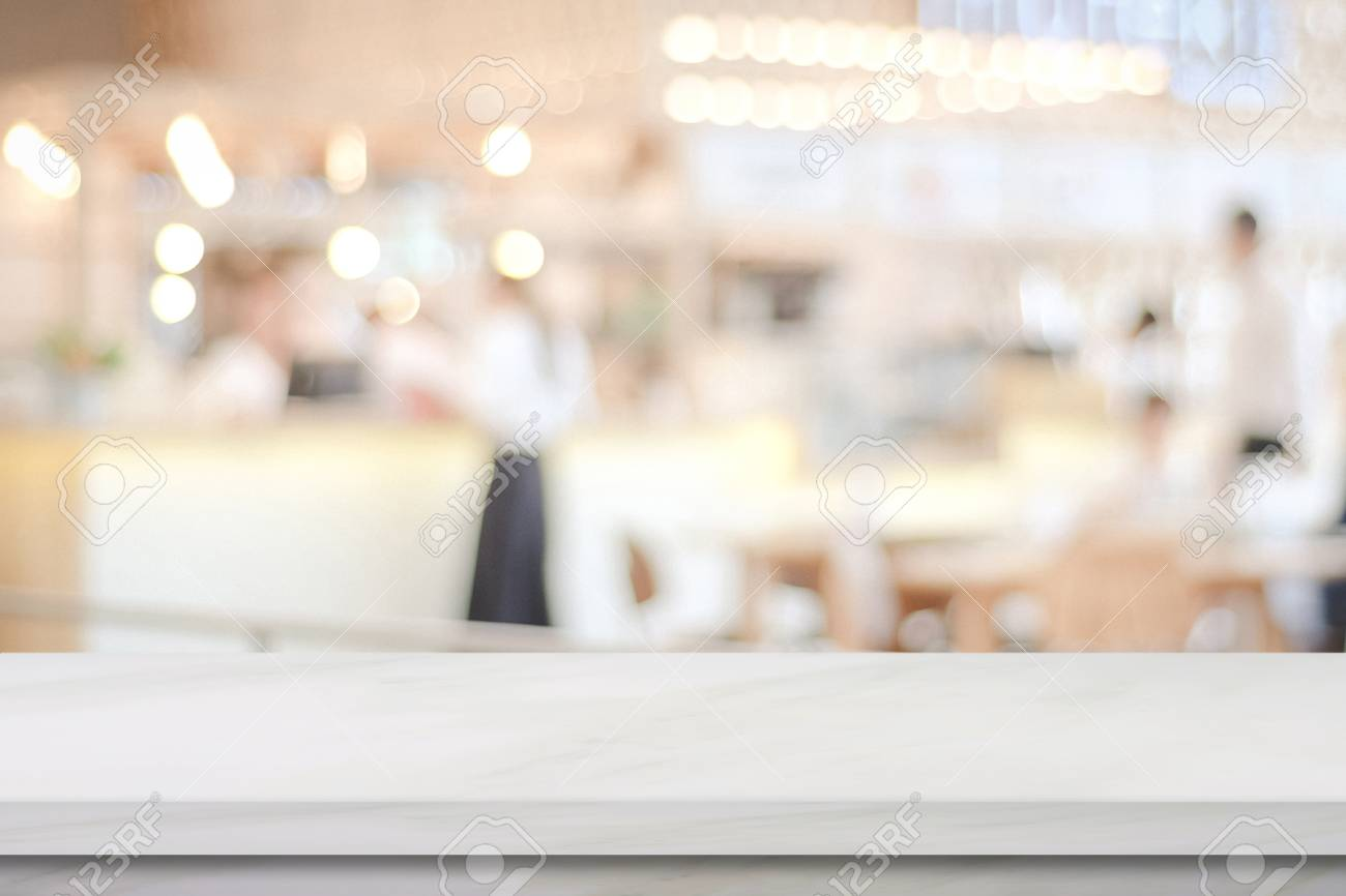 Empty White Marble Over Blur Cafe Background Product And Food Stock Photo Picture And Royalty Free Image Image 75966786