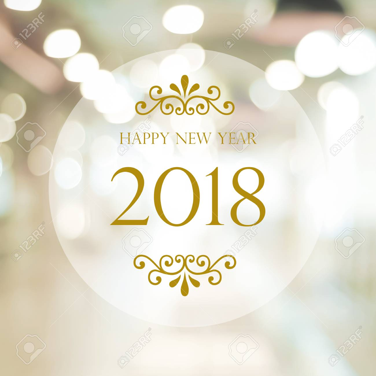 happy new year 2018 on abstract blur festive bokeh background banner stock photo 80772180