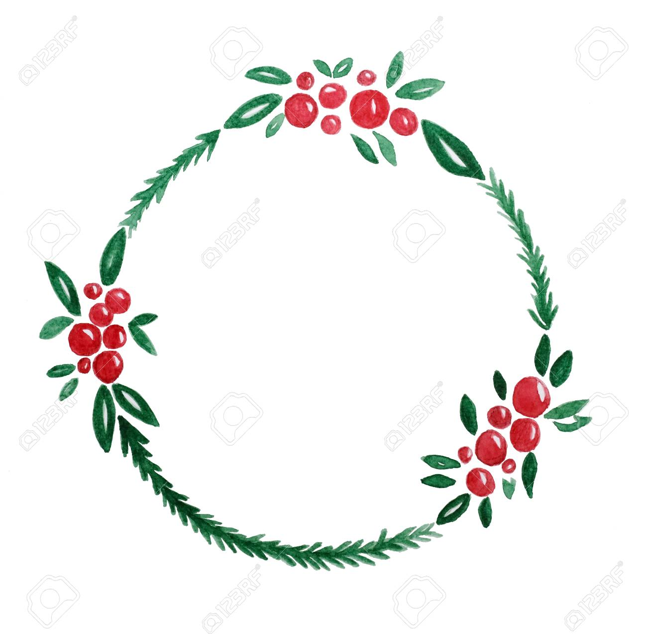 Drawings Of Christmas Wreaths.Christmas Wreath Watercolor Drawing On White Paper Background
