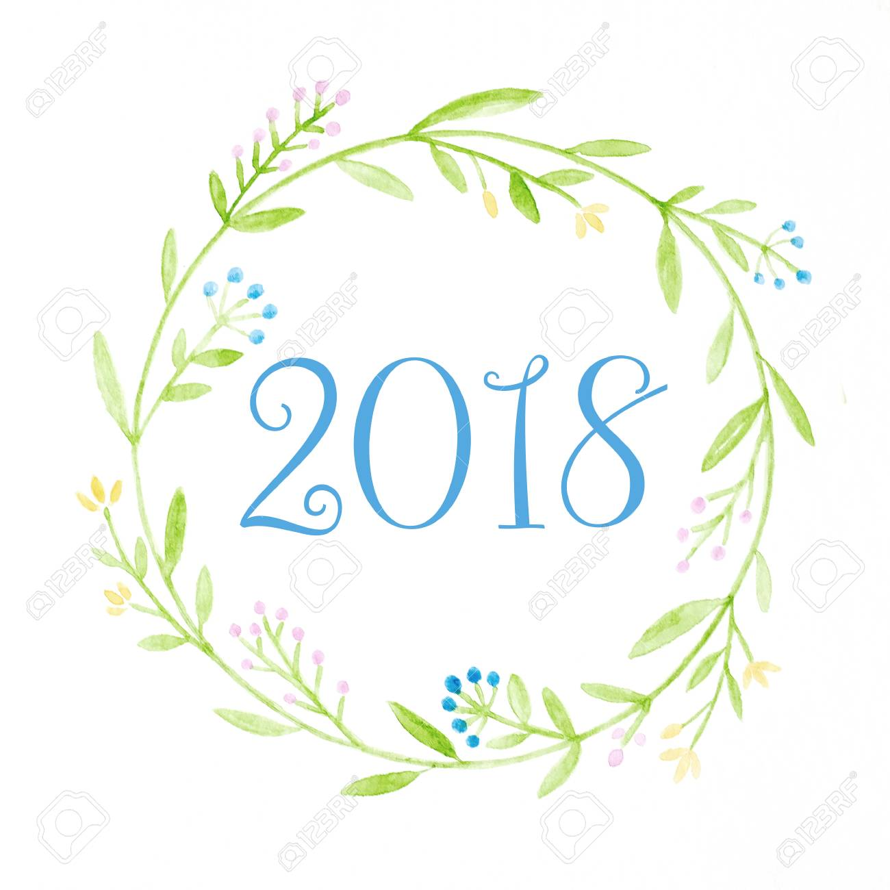 happy new year 2018 on watercolor hand painting flowers wreath over white background new year