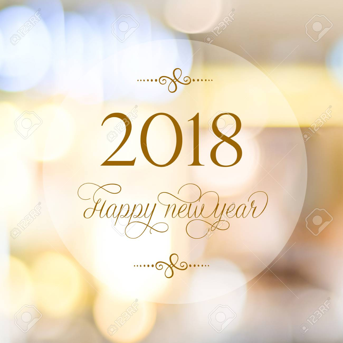 happy new year 2018 on abstract blur festive bokeh background banner stock photo 89217055