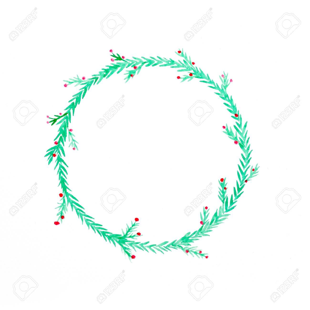 Dessin De Couronne De Fleurs De Noël Aquarelle Sur Fond De Papier