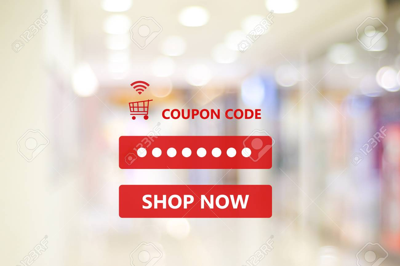 Coupon Code On Blur Store Background Web Banner Shopping On Stock Photo Picture And Royalty Free Image Image 95122828