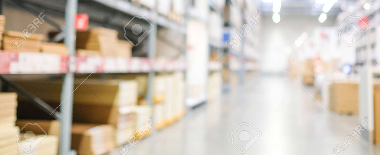 Blurred business background, Blur warehouse with bokeh light background - 166652784