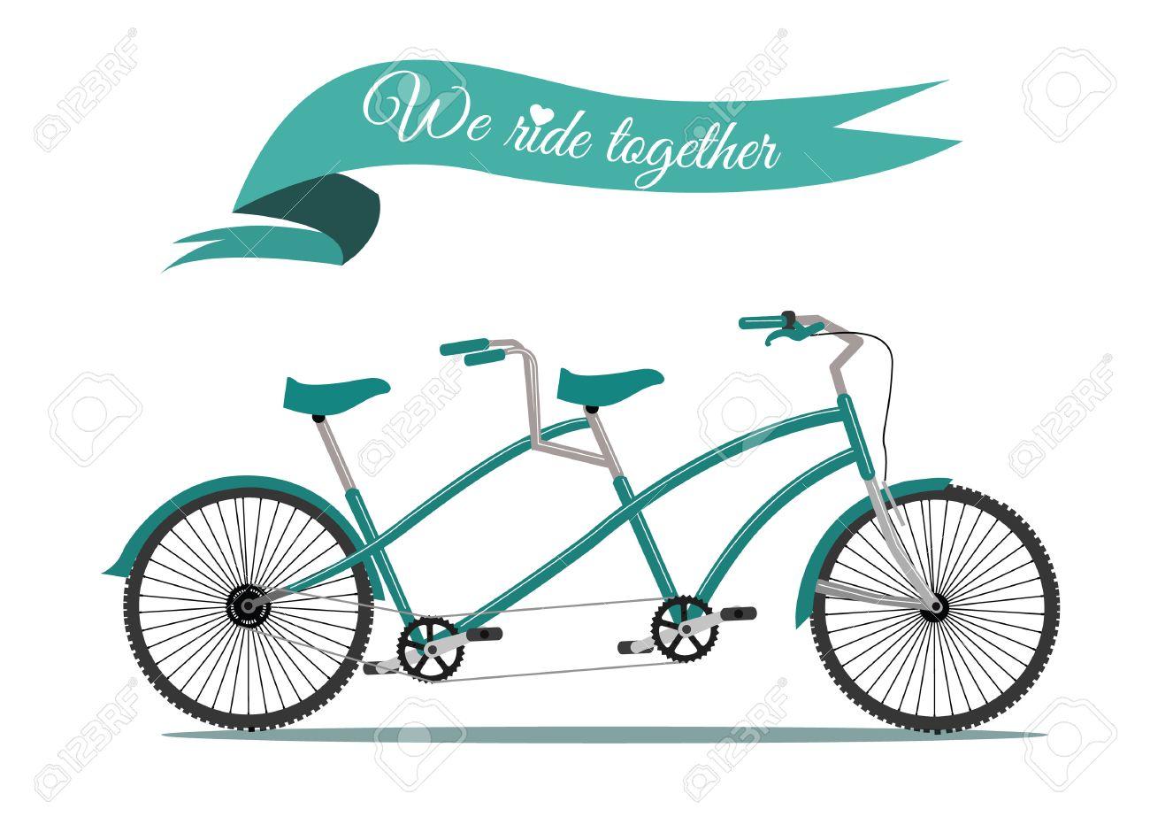 We ride together vintage tandem bicycle vector - 26321277