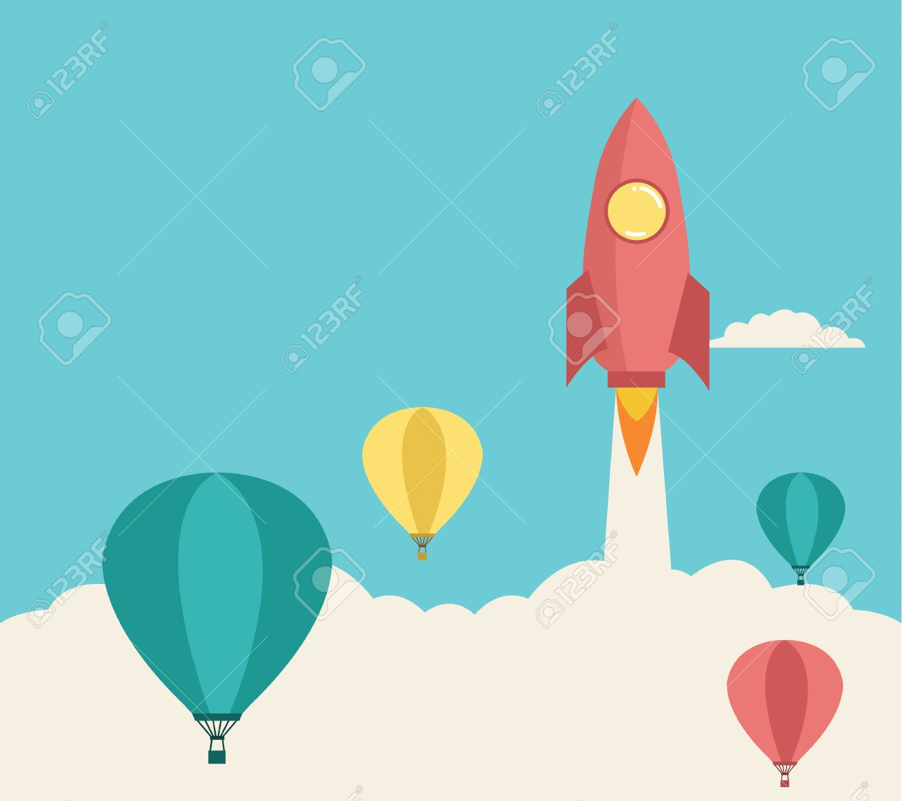 rocket launching over the hot air balloons Business competition concept Vector - 29267737
