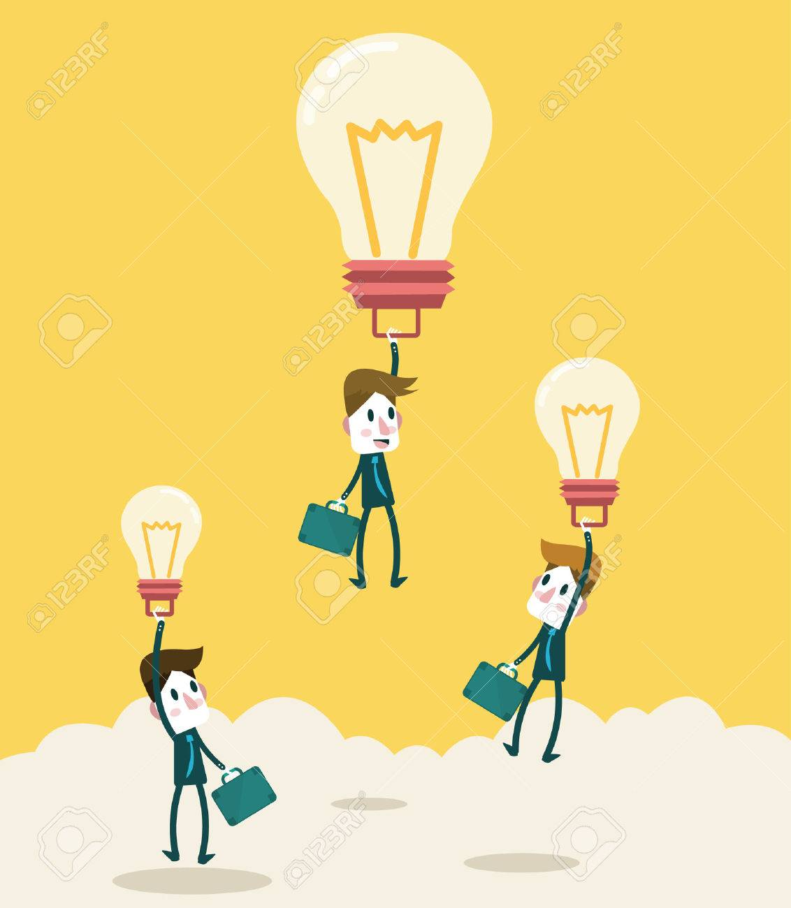 Businessman fly higher with big ideas light bulb Business leadership and competition Concept vector - 30135180