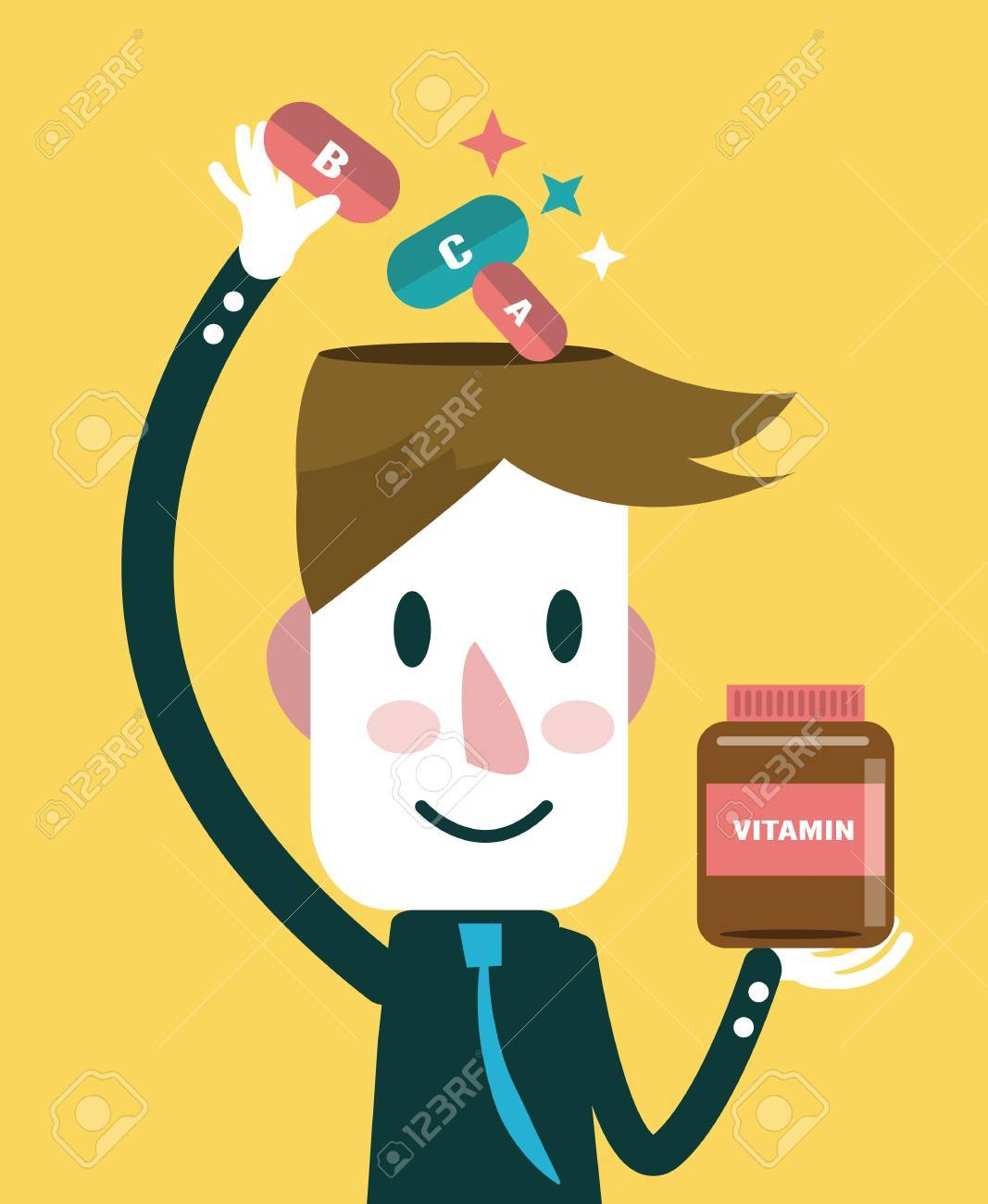 Businessman putting vitamins in his head health care concept vector illustration - 30135238
