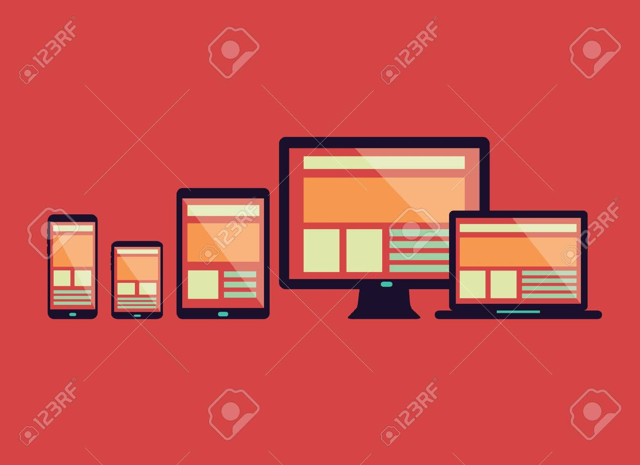 Responsive web design in electronic devices Connect social network flat design element vector - 30135304