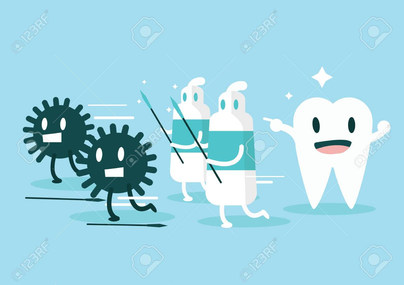 Toothpaste protect teeth from germ Character set flat design illustration vector - 30135398