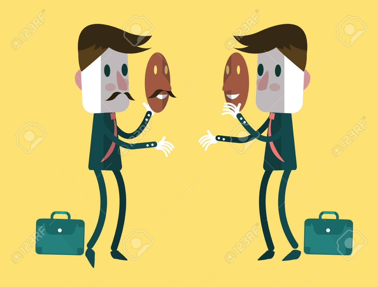 Fake businessmen wearing smile mask Business concept vector illustration - 30651262