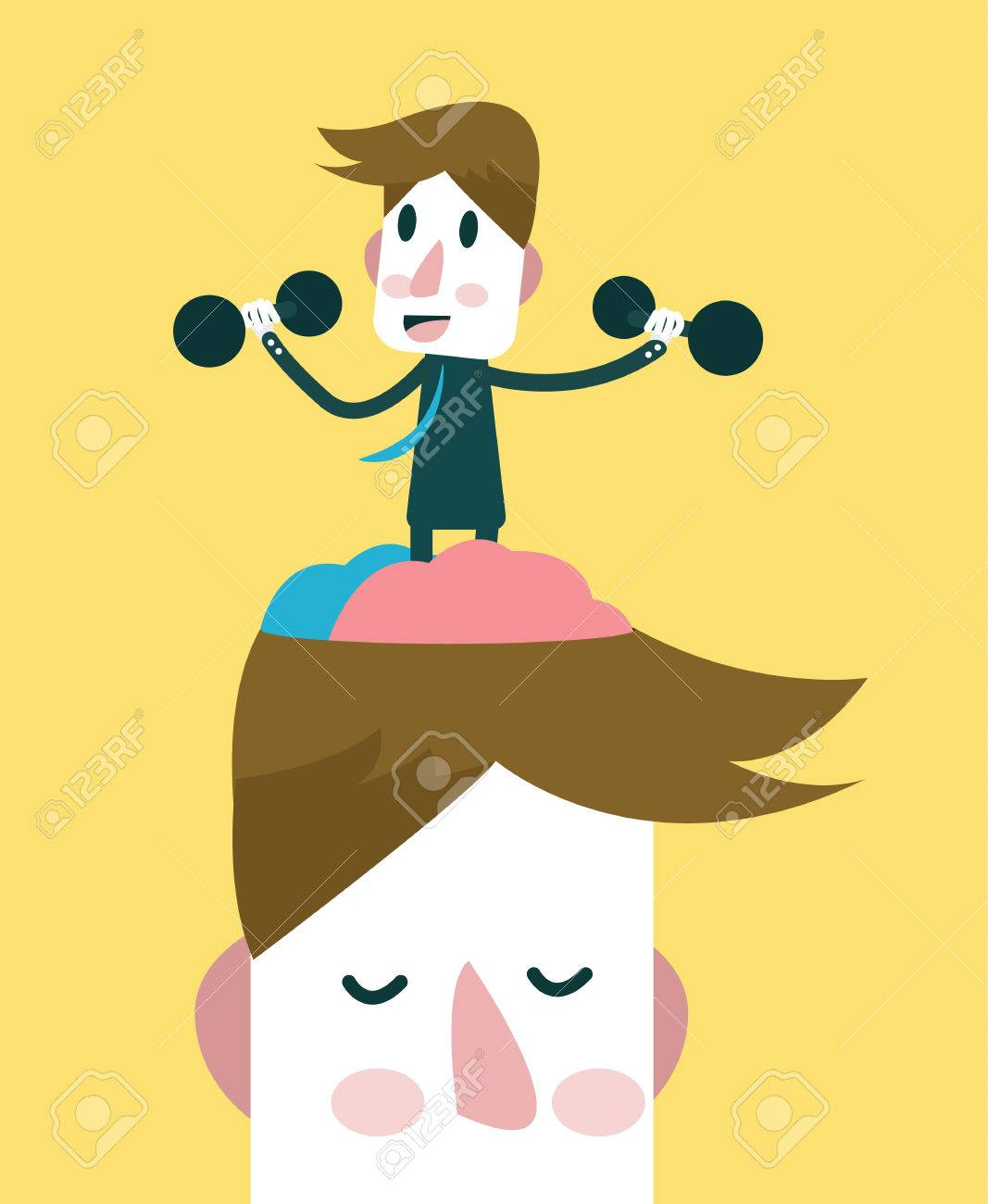 Businessman exercising his brain. knowledge and Vision concept. vector illustration - 31280608