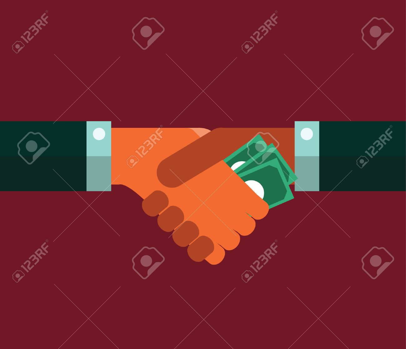Businessman giving a bribe. Corruption concept. flat design. vector illustration - 31280610