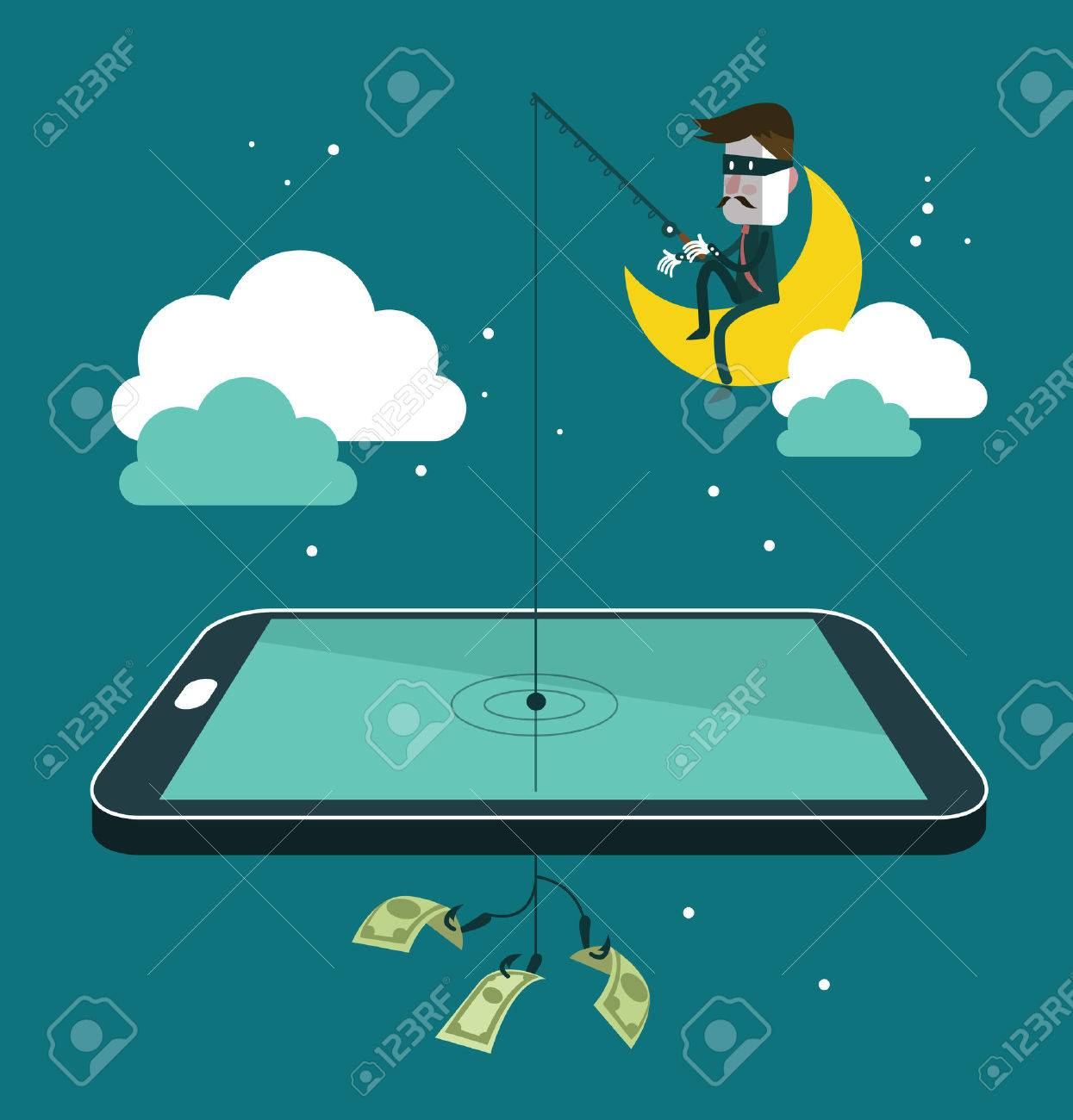 Social network thief stealing money by fishing dollar banknote from wallet on screen of smart phone. Flat design vector illustration - 31280622