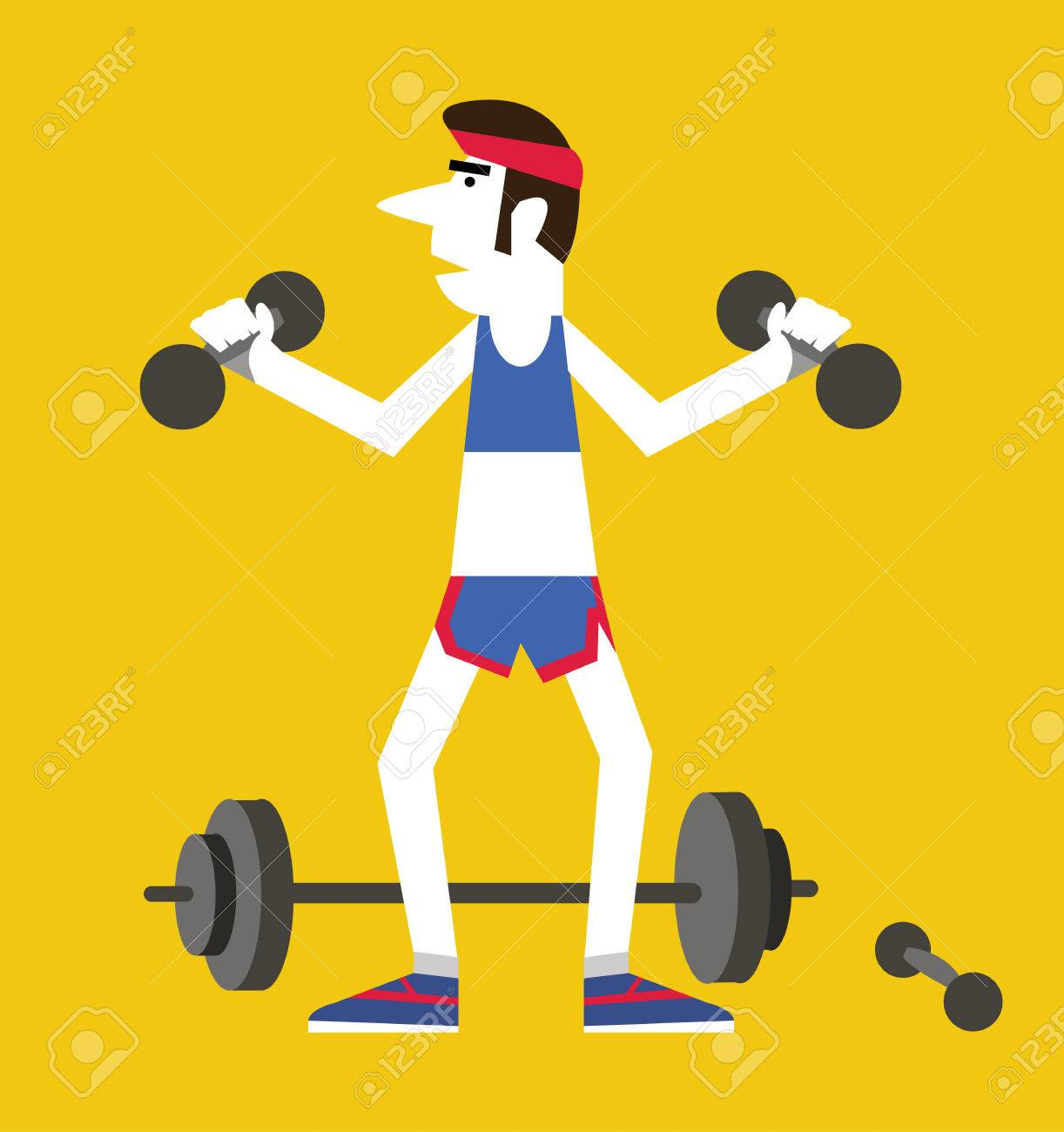 Retro man holding dumbbells and squats ,Exercising healthy concept. flat vector illustration - 31280650