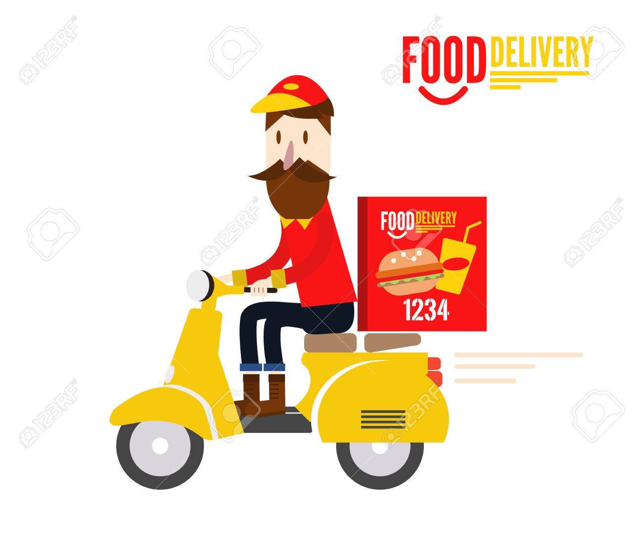 Food delivery man is riding yellow motor bike. flat character design. vector illustration - 34199508