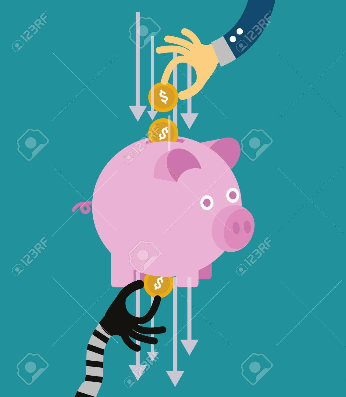 Hand stealing money from piggy bank. flat design. vector illustration - 33674356